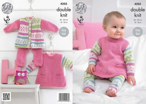 King Cole Cherished DK Baby Tunic Cardigan Leggings Knitting Pattern 4203