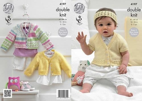 King Cole Cherished DK Cardigans Headband Baby Knitting Pattern 4197