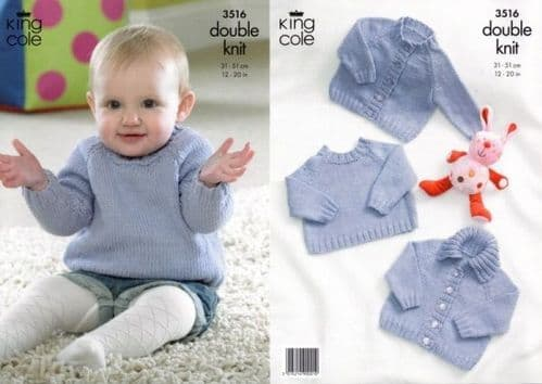 King Cole Cottonsoft DK Cardigans and Sweaters Knitting Pattern 3516
