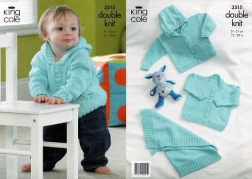 King Cole Cottonsoft DK Jackets and Blanket Knitting Pattern 3515