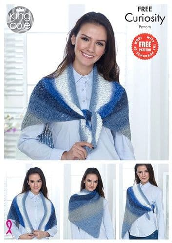 King Cole Curiosity DK Lace Triangle Wrap FREE