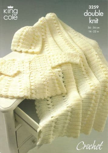 King Cole DK Baby Coat Shawl and Hat Crochet Pattern 3259