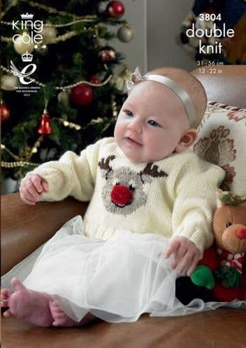 King Cole DK Christmas Baby Sweaters Knitting Pattern 3804