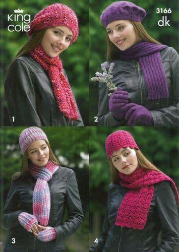 King Cole DK Hats, Scarves and Gloves Knit & Crochet Pattern 3166