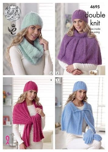 King Cole Embrace DK Accessories Knitting Pattern 4695