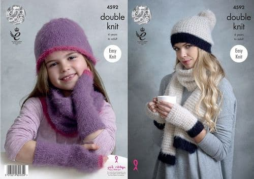 King Cole Embrace DK Snood Hats Mitts Scarf Knitting Pattern 4592