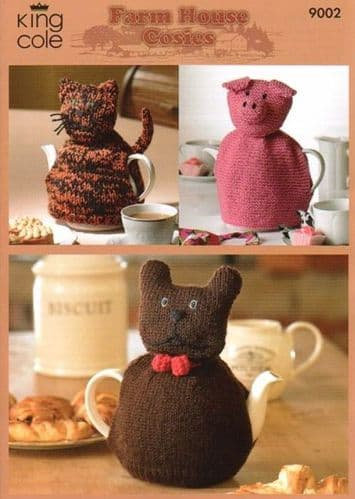 King Cole Farm House Cosies Knitting Pattern 9002