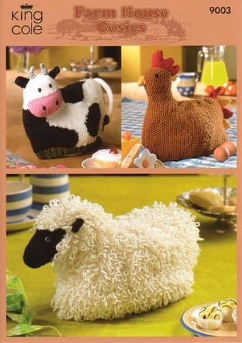 King Cole Farm House Cosies Knitting Pattern 9003
