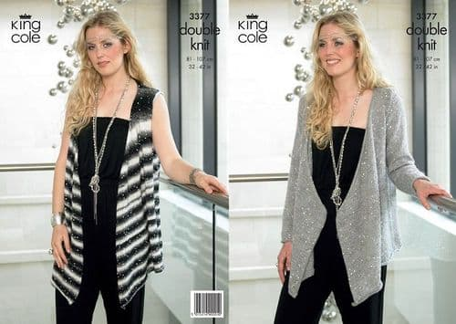 King Cole Galaxy Cardigan Waistcoat Knitting Pattern 3377