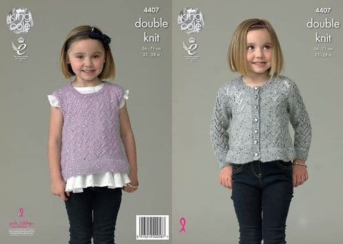 King Cole Galaxy DK Girls Cardigan and Top Knitting Pattern 4407