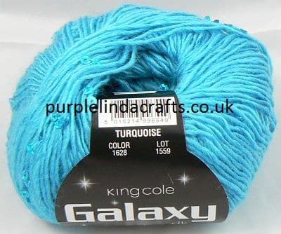King Cole Galaxy DK Sequin Yarn 1628 TURQUOISE DISCONTINUED