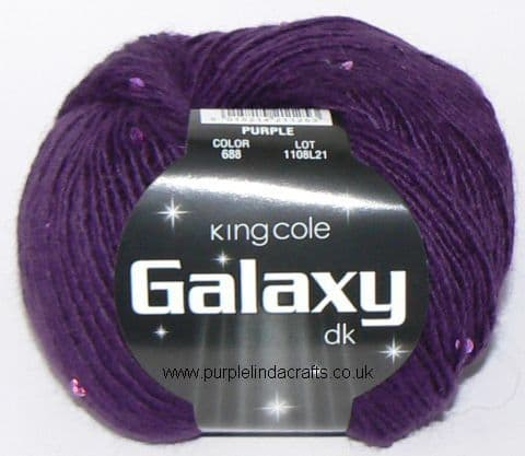 King Cole Galaxy DK Sequin Yarn 688 PURPLE DISCONTINUED