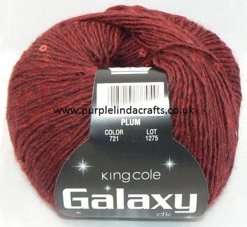 King Cole Galaxy DK Sequin Yarn 721 Plum DISCONTINUED