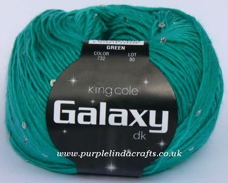 King Cole Galaxy DK Sequin Yarn 732 GREEN DISCONTINUED