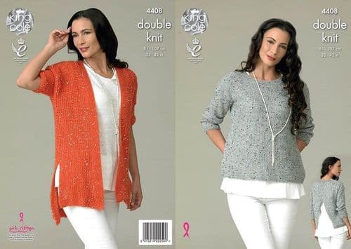 King Cole Galaxy DK Top and Cardigan Knitting Pattern 4408