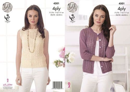 King Cole Giza 4ply Lacy Cardigan and Top Knitting Pattern 4501