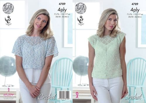 King Cole Giza Sorbet 4ply Tops Crochet Pattern 4789