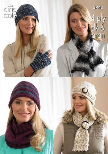 King Cole Hats Scarves Cowl Fingerless Gloves Knitting Pattern 3443