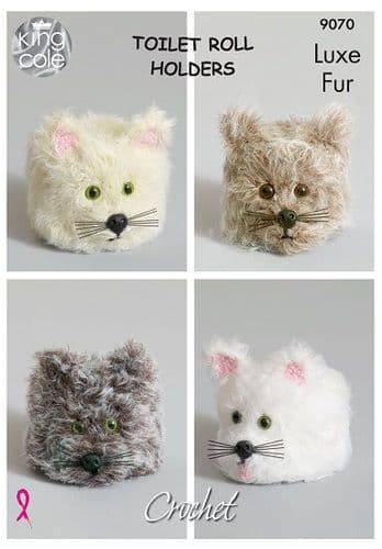 King Cole Luxe Fur CAT Toilet Roll Holders 9070