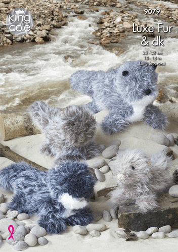 King Cole Luxe Fur Otters Knitting Pattern 9079