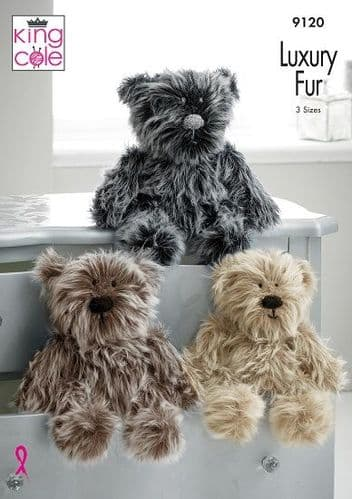 King Cole Luxury Fur BEARS Knitting Pattern 9120