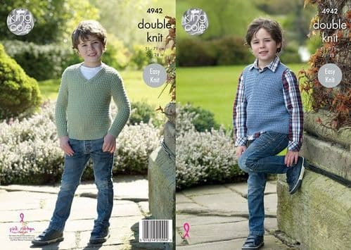 King Cole Luxury Merino DK Child's Sweater and Slipover Knitting Pattern 4942