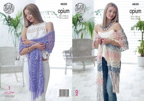 King Cole Opium and Opium Palette Shawls Knitting Pattern 4830