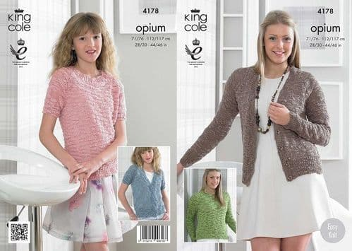 King Cole Opium Cardigans and Sweaters Knitting Pattern 4178