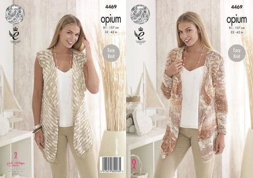 King Cole Opium Palette Cardigan and Waistcoat Knitting Pattern 4469