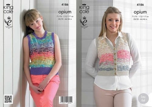 King Cole Opium Palette Waistcoat and Slipover Knitting Pattern 4186