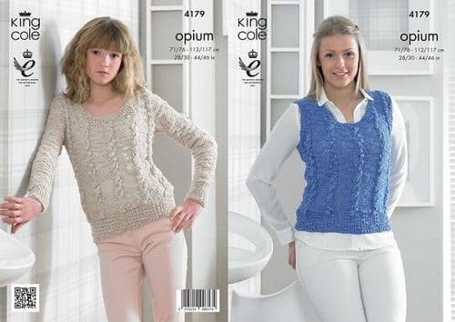 King Cole Opium Slipover and Sweater Knitting Pattern 4179