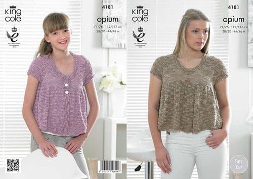 King Cole Opium Top and Cardigan Knitting Pattern 4181