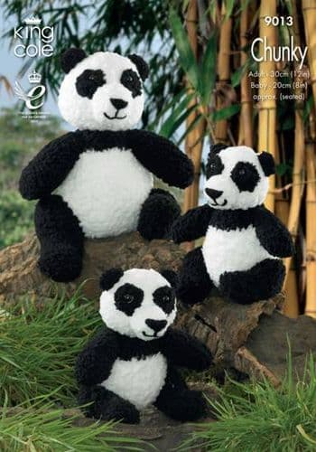 King Cole Panda Bear Toys Knitting Pattern 9013