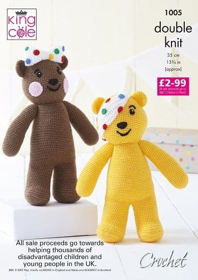 King Cole PUDSEY and BLUSH Bear Toy CROCHET Pattern 1005