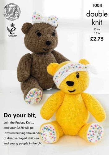 King Cole PUDSEY and BLUSH Bear Toy Knitting Pattern 1004