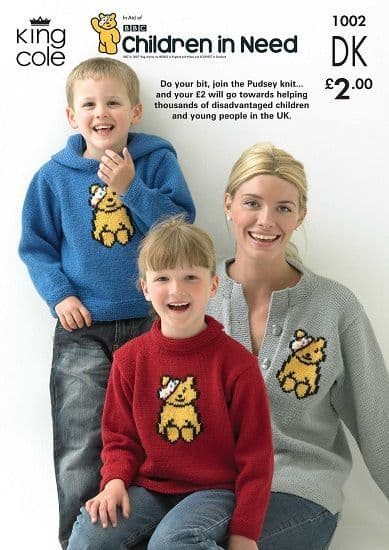 King Cole PUDSEY Bear Sweaters and Cardigan Knitting Pattern 1002