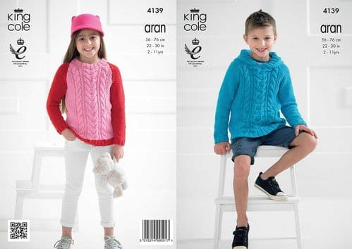 King Cole Recycled Cotton Aran Childs Sweaters Knitting Pattern 4139