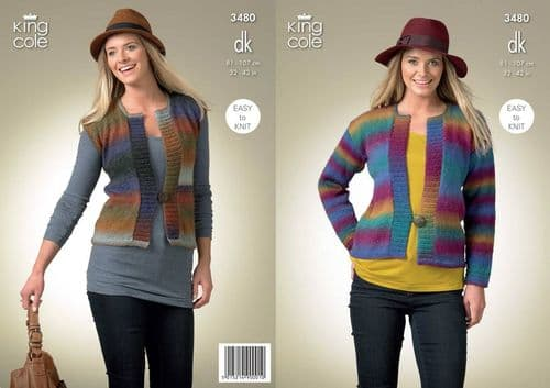 King Cole Riot DK Cardigan and Waistcoat Knitting Pattern 3480