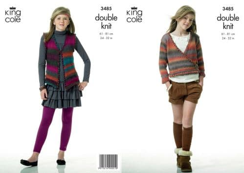 King Cole Riot DK Cardigan and Waistcoat Knitting Pattern 3485