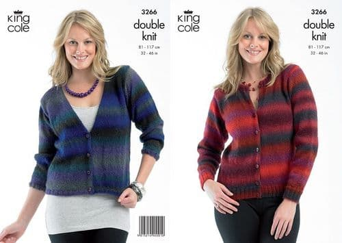 King Cole Riot DK Cardigans Knitting Pattern 3266