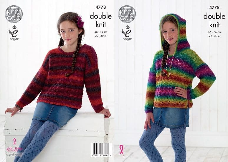 King Cole Riot DK Childs Hoodie and Sweater Knitting Pattern 4778
