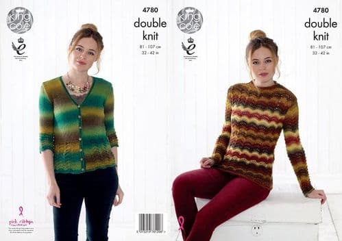 King Cole Riot DK Rib Sweater and Cardigan Knitting Pattern 4780