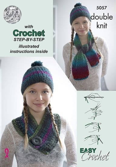 King Cole Riot DK Scarf Hat Cowl Crochet step-by-step Pattern 5057