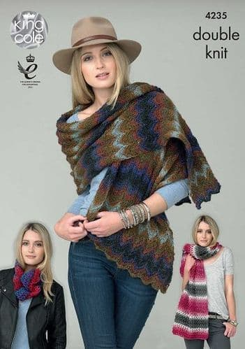 King Cole Riot DK Shawls and Snood Knitting Pattern 4235