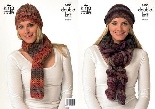 King Cole Riot Hats and Scarves Crochet Pattern 3400