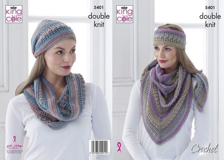 King Cole Riot Shawl Cowl Hat Crochet Pattern 5401
