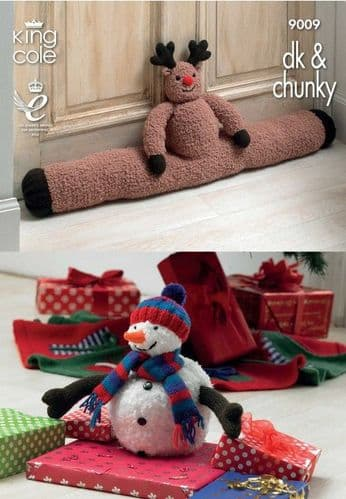 King Cole Rudolph Draught Excluder Snowman and Christmas Tree Skirt Knitting Pattern 9009