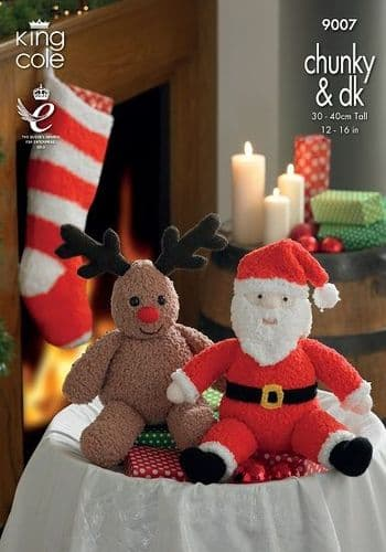 King Cole Santa Rudolph Toys and Stocking Knitting Pattern 9007