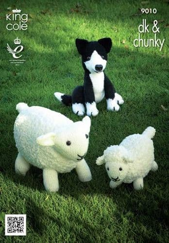King Cole Sheep, Lamb and Sheepdog Toys Knitting Pattern 9010