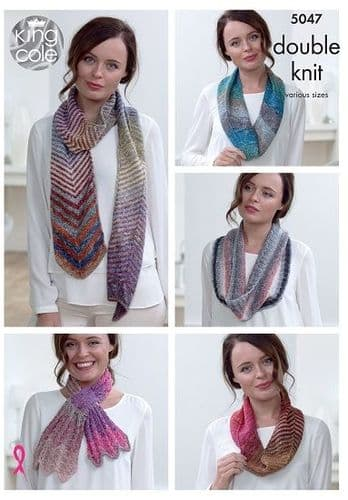 King Cole Shine DK Knitted Scarves Pattern 5047